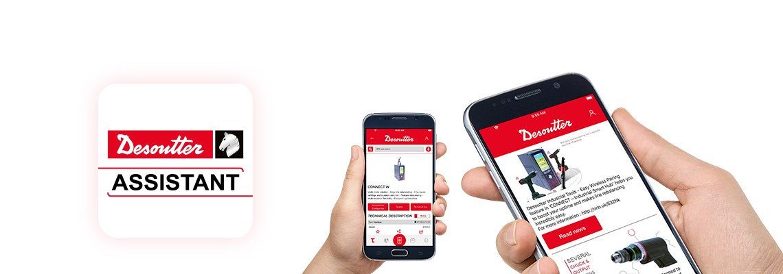 Descargue la aplicación Desoutter Assistant para estar actualizado con nuestros productos para ensamblaje y perforación, además para que tenga un acceso  más fácil de nuestros servicios.