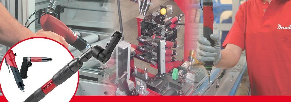 herramientas industriales Desoutter creo una amplia gama  de atornilladores sin corte por clutch con cabeza angular, otorgando un rápido servicio y una baja reacción en uniones fuertes.