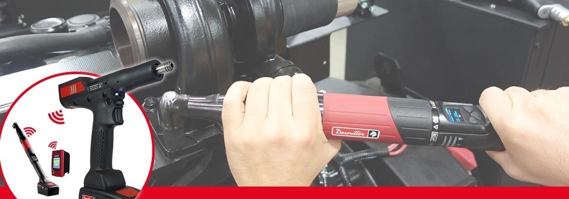 Descubra los aprietatuercas de batería EABCom - EPBCom de herramientas industriales Desoutter. Conecte 4 herramientas inalámbricas con transductor a un controlador vision para tener un 100% de trazabilidad